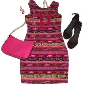 M M Couture / Aztec Print Body Con / Scuba Dress